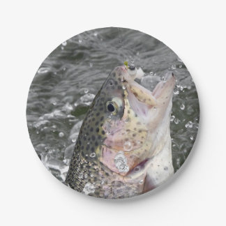 Rainbow Trout Takes The Bait Paper Plate