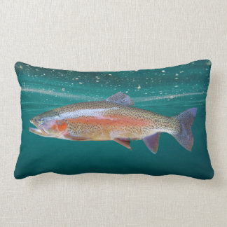 Rainbow Trout Underwater Fisherman Lumbar Pillow