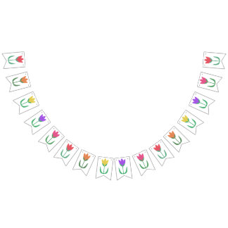 Rainbow Tulip Bright Colorful Spring Tulips Flower Bunting Flags