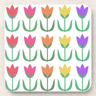 Rainbow Tulip Pattern Colorful Spring Tulips Rows Coaster