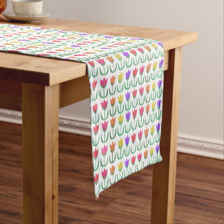 Rainbow Tulip Pattern Colorful Spring Tulips Rows Short Table Runner