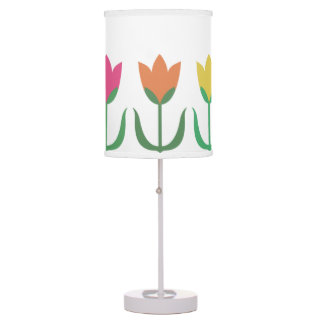 Rainbow Tulip Pattern Colorful Spring Tulips Rows Table Lamp
