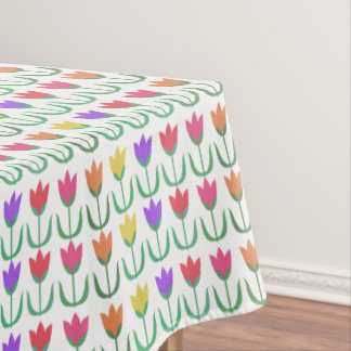 Rainbow Tulip Pattern Colorful Spring Tulips Rows Tablecloth