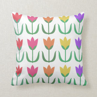 Rainbow Tulip Pattern Colorful Spring Tulips Rows Throw Pillow