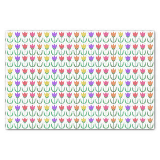 Rainbow Tulip Pattern Colourful Spring Tulips Row Tissue Paper