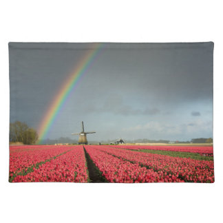 Rainbow, tulips and windmill placemat