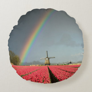 Rainbow, tulips and windmill round pillow