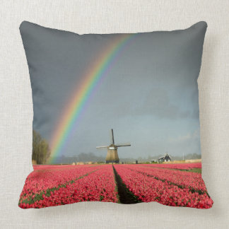 Rainbow, tulips and windmill throw pillow