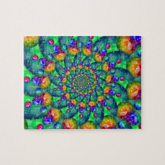 Rainbow Turquoise Bokeh Fractal Jigsaw Puzzle