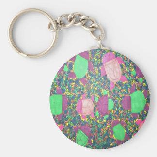 Rainbow Turtles on The Rocks Basic Round Button Keychain