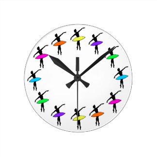 Rainbow Tutus Ballet Dancer Ballerina Dance Clock