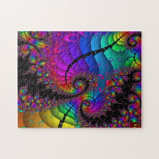 Rainbow Twirl Fractal Art Jigsaw Puzzle