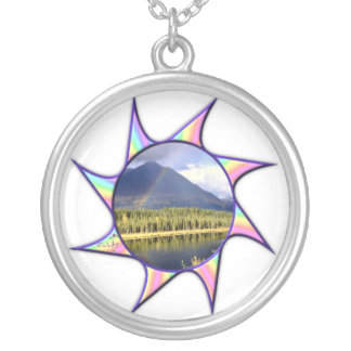 Rainbow Twirl Silver Plated Necklace