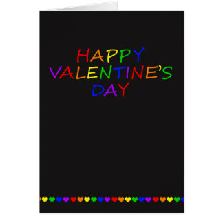Rainbow Typography and Heart Gay Valentine Card