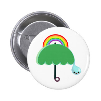 rainbow umbrella drop rain 2 inch round button