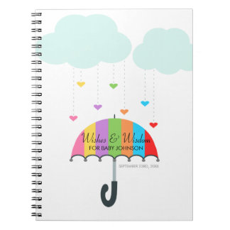 Rainbow Umbrella Neutral Baby Shower Guest Book