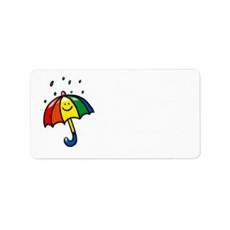 Rainbow umbrella & rain drops label