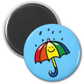 Rainbow umbrella & rain drops magnet