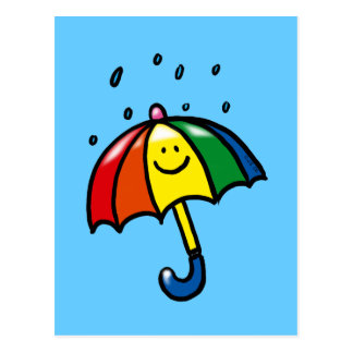 Rainbow umbrella & rain drops postcard