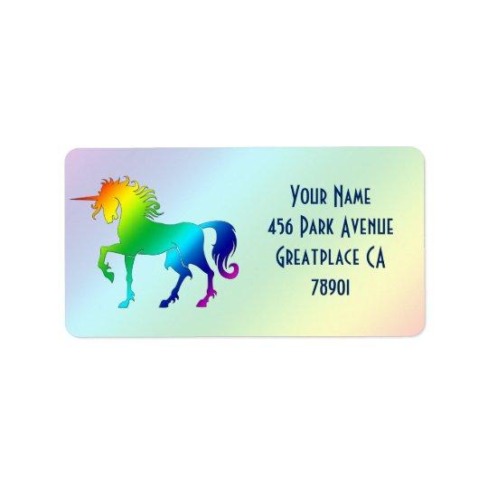 Rainbow Unicorn Address Label