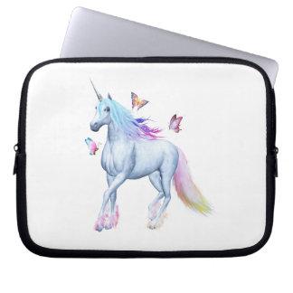 Rainbow unicorn and butterflies laptop sleeve
