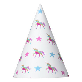 Rainbow Unicorn And Stars Party Hat