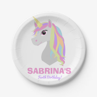 Rainbow Unicorn Birthday Custom Name Paper Plates