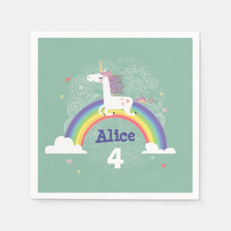 Rainbow Unicorn Birthday Paper Napkins - Green