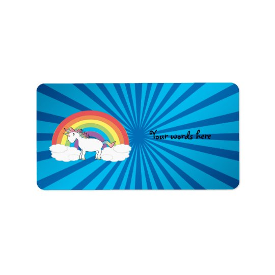 Rainbow unicorn blue sunburst label