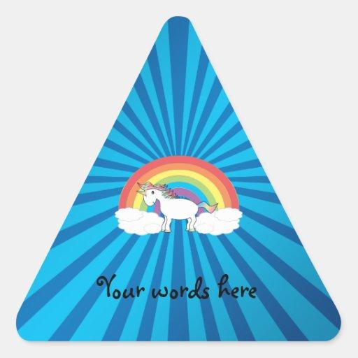Rainbow unicorn blue sunburst triangle stickers