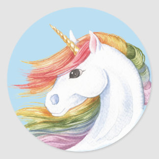 Rainbow Unicorn Classic Round Sticker