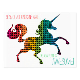 Rainbow Unicorn Custom Change of Address Postcard