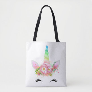 Rainbow Unicorn Face Tote