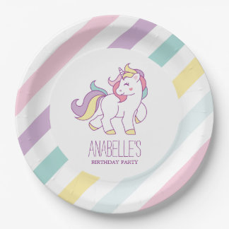 Rainbow Unicorn Girls Birthday Party 9 Inch Paper Plate