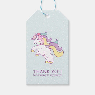 Rainbow Unicorn Girls Birthday Party Gift Tags
