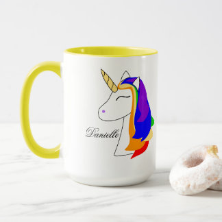 Rainbow unicorn hair mug