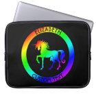 Rainbow Unicorn In Black Circles Laptop Sleeve