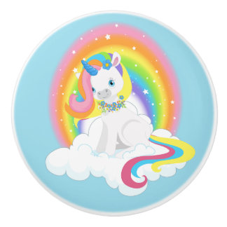 Rainbow Unicorn on a Cloud Ceramic Knob