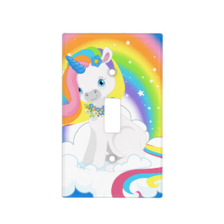 Rainbow Unicorn on a Cloud Light Switch Cover