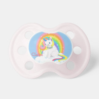 Rainbow Unicorn on a Cloud Personalized Pacifier