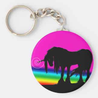 Rainbow Unicorn Party Basic Round Button Keychain