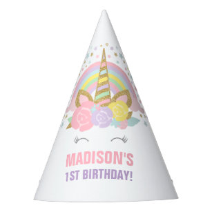 Rainbow Unicorn Party Hat Birthday