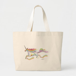 Rainbow Unicorn Pegasus Horse Pony Flying Cute Large Tote Bag