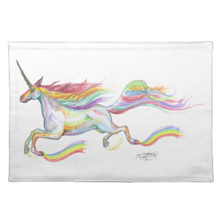 Rainbow Unicorn Pegasus Horse Pony Flying Cute Placemat