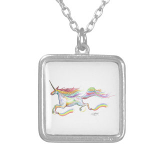Rainbow Unicorn Pegasus Horse Pony Flying Cute Silver Plated Necklace