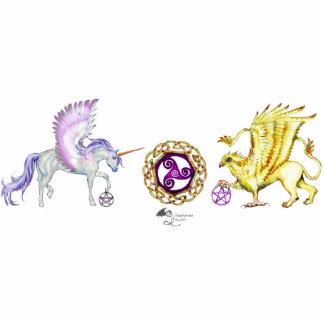 Rainbow Unicorn Pegasus Horse Pony Griffon Cute Standing Photo Sculpture
