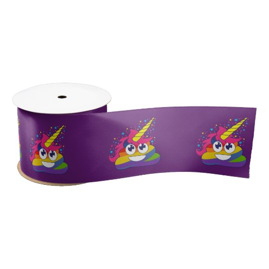 Rainbow Unicorn Poo Emoji (purple) Ribbon Satin Ribbon