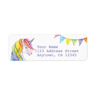 Rainbow Unicorn Return Address Labels