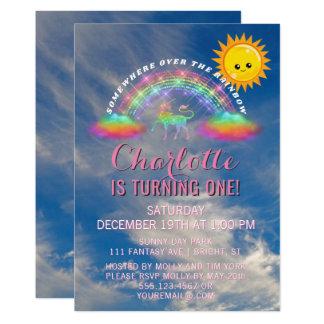 Rainbow Unicorn Sun Clouds 1st Birthday Party Card