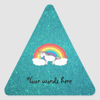 Rainbow unicorn turquoise glitter stickers